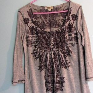 Engre By One World Printed Tunic Boho Style Shirt